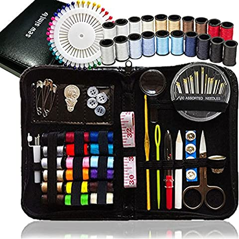 SEWING KIT, Over 120 Premium Sewing Supplies, 38 Spools of Thread - 20 Most Useful Colors of Threads & 18 Multi Colors, Extra 40 quality sewing pins - Mini Travel sewing kit, for Beginners, Emergency - Bobine Di Cucito