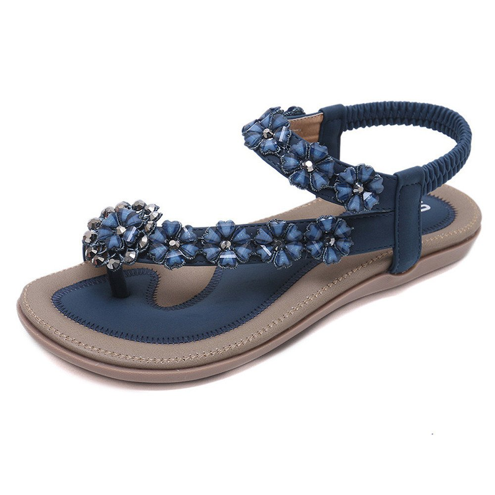 Kauneus Women's Casual Slingback Summer Beach Thong Flat Sandal Blue by Kauneus Fashion Shoes