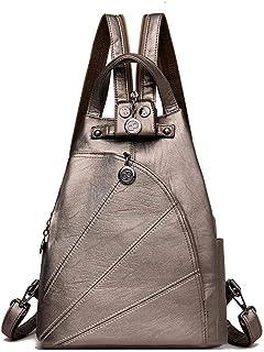 Waterproof Leather Backpack Purse Handbag, Small Backpack Crossbody Sling Shoulder Bag Mini Travel Daypack for Women Ladies Girls (Grey)