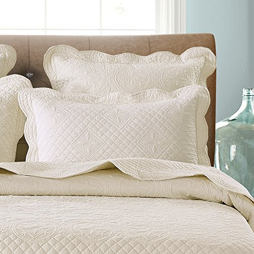 Each Quilted Sham (Calla Angel F9-VR8H-X19X Sage Garden Luxury Pure Cotton Quilted Pillow Sham,Ivory,Euro)