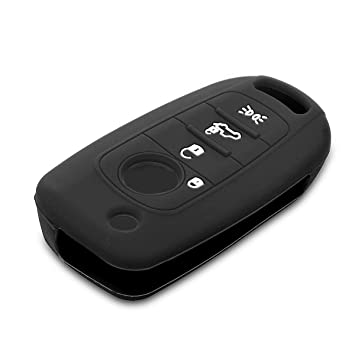kwmobile Funda de Silicona para Llave Plegable de 4 Botones para Coche Fiat - Carcasa Protectora [Suave] de [Silicona] - Case Mando de Auto [Negro]