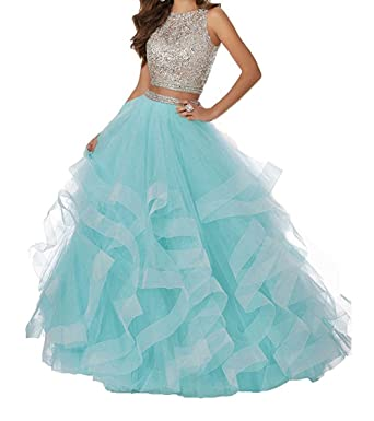 beautybride Beaded Bodice Prom Dresses Long Two Piece Asymmetrical ...