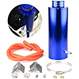 Anngo 800ml Racing Radiator Coolant Overflow Billet Aluminum Oil Catch Tank Round Oil Catch Can Reservoir Blue