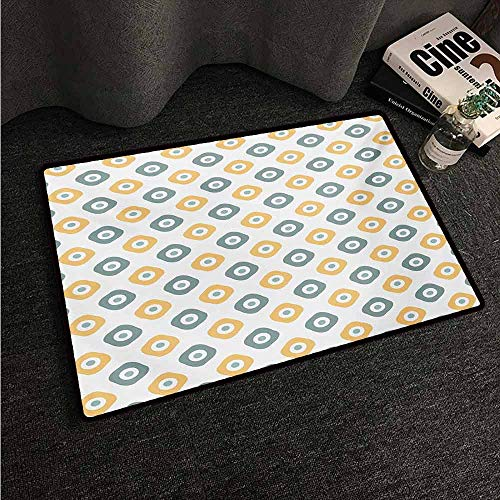 HCCJLCKS Interior Door mat Vintage Stylish Evil Eye Bead Amulet Like Figures Cubical Rounded Dotted Super Absorbent mud W24 xL35 Almond Green Apricot Mustard