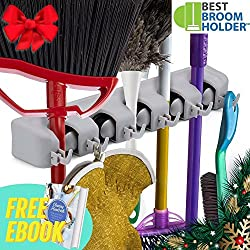 """Wall Mounted Non Slide Mop Broom Holder & Rake Garden Tool Organizer With 6 Hooks & 5 Slots Up To 1.25"""" Handle - Quick Installation With Mounting Screws - E-book Included"""