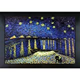 overstockArt Van Gogh Starry Night Over the Rhone Painting with New Age Wood Frame, Black Finish