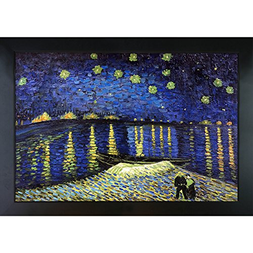 overstockArt Van Gogh Starry Night Over the Rhone Painting with New Age Wood Frame, Black Finish by overstockArt