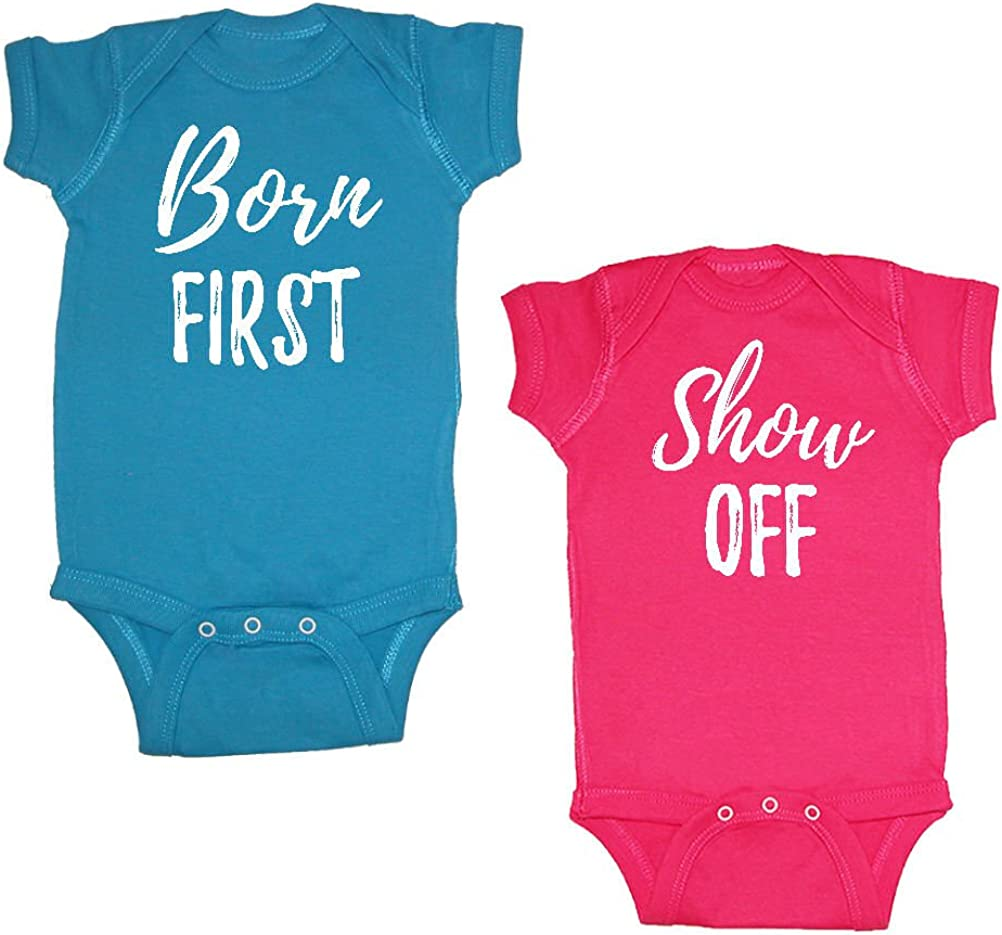 We Match Unisex Baby Twin Set 2-Pack Born First /& Show Off Bodysuits