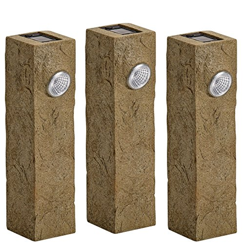 Original Treasures Bundle of 3 Limestone Solar Pathway Light – Bright LED Landscape and Sidewalk Illumination