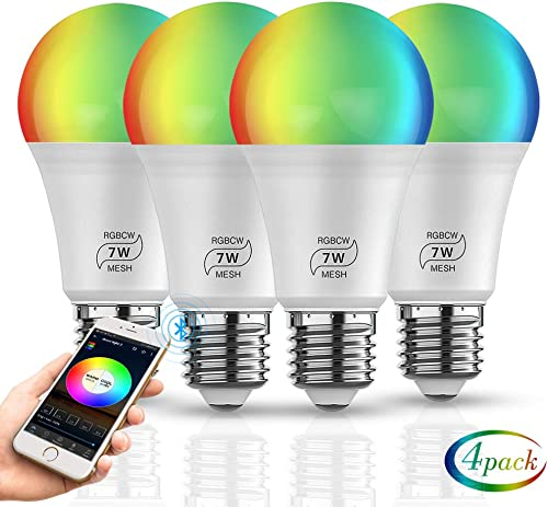 Sumaote Bluetooth Wireless Smart Light Bulbs RGBW CW WW 2700K-6500K Dimmable Night Light E26 60w Equivalent LED Bulb Smart Lighting for Dorm, Office, Bedroom, Living Room, 4 Pack