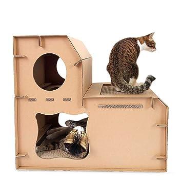 Pet Elf - Casa de Gato de Papel Corrugado con Doble escalón para Gatos, rascador de Gatos, Juguete de Garra: Amazon.es: Productos para mascotas