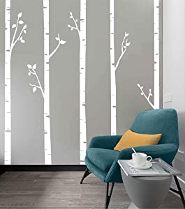 244cm Tall Unique 5 White Birch Trees with Branches Huge Size Wall Stickers for Kids Room Nursery Baby Wall Decals D641 (White)