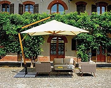 Sombrilla (cuadrado 3 x 3 m, color crudo con mástil de madera – A uso profesional – PEGANE -: Amazon.es: Hogar