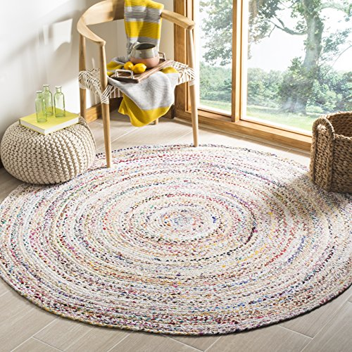 Safavieh Braided Collection BRD210B Handwoven Ivory and Multicolored Round Area Rug (3' in Diameter) (3 Round Rugs)