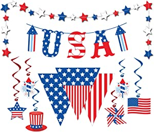 Dazonge 4th of July Decorations   Navy & Red Hanging Swirl Decorating, USA Letter Banner, American Pennant Banner, Patriotic Star Garland   Patriotic Decorations Kit   Independence Day Decor