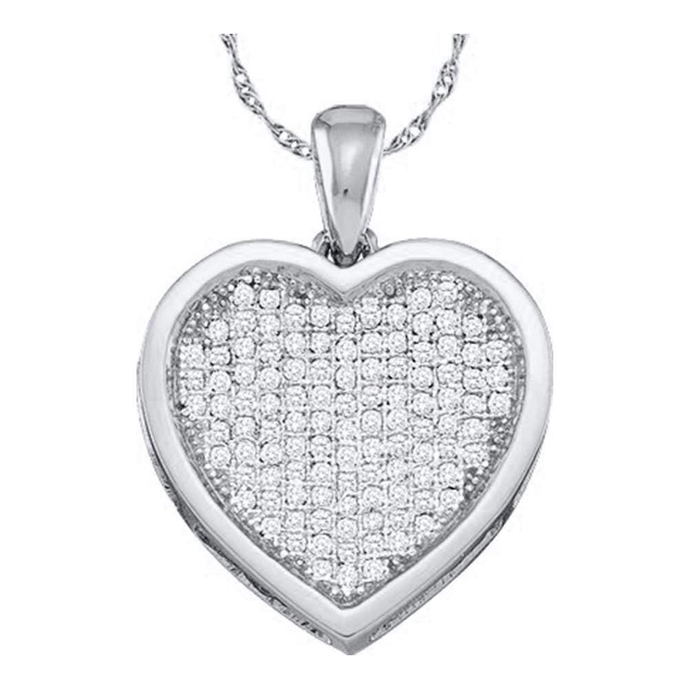 10kt White Gold Womens Round Diamond Cluster Small Heart Love Pendant 1//20 Cttw