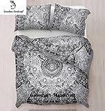 GANESHAM HANDICRAFT - Hamsa Hand Mandala Duvet Cover Doona Cover Indian Cotton Quilt Cover Urban Duvet Blanket Cover Throw Queen Size Bedspread Duvet Cover Set