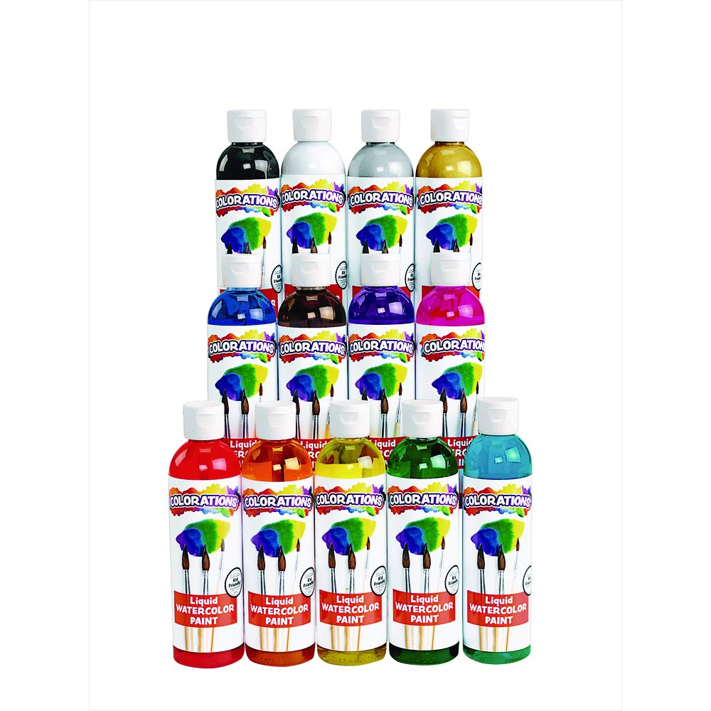 Colorations Classic Colors Liquid Watercolor Paint Classroom Supplies for Kids Arts and Crafts Variety Set (Pack of 13) by Colorations