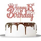 Rose Gold Glitter Happy 18th Birthday Cake Topper for Cheers to 18 Years/Girl Boy's 18th Anniversary Birthday Party…