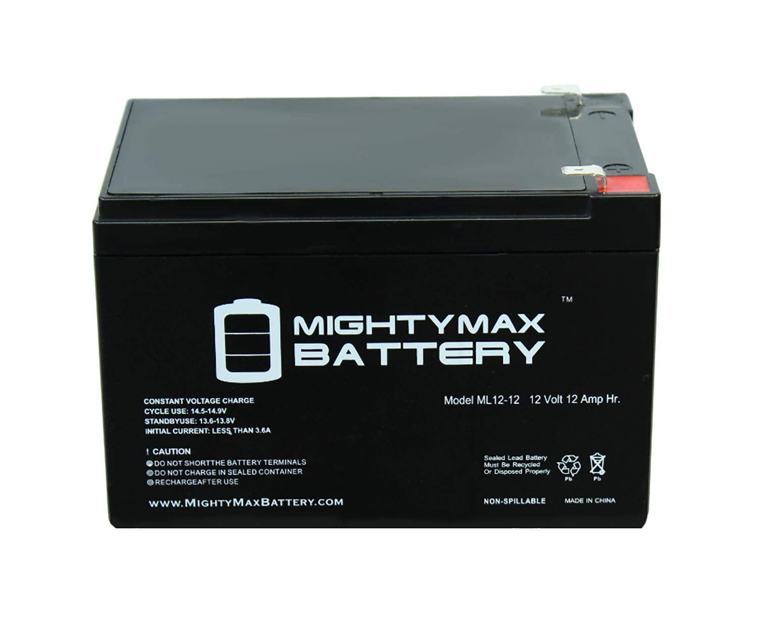 Mighty Max Battery 12V 12Ah F2 Scooter Battery for Enduring CB12-12, CB-12-12 - 2 Pack Brand Product by Mighty Max Battery (Image #3)