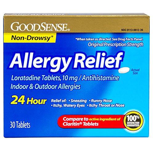 GoodSense Allergy Relief Loratadine Tablets, 10 mg, Antihistamine, 30-Count (Antihistamine Non Drowsy)