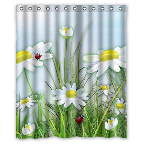 Cartoon White Flower Daisy Lady Bugs High Quality Fabric Bathroom Shower Curtain 60 X 72 Inches