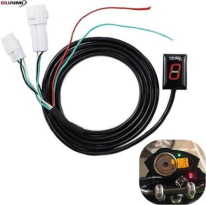de IDEA Indicador de engranaje impermeable para motocicleta Indicador LED rojo de Plug /& Play.