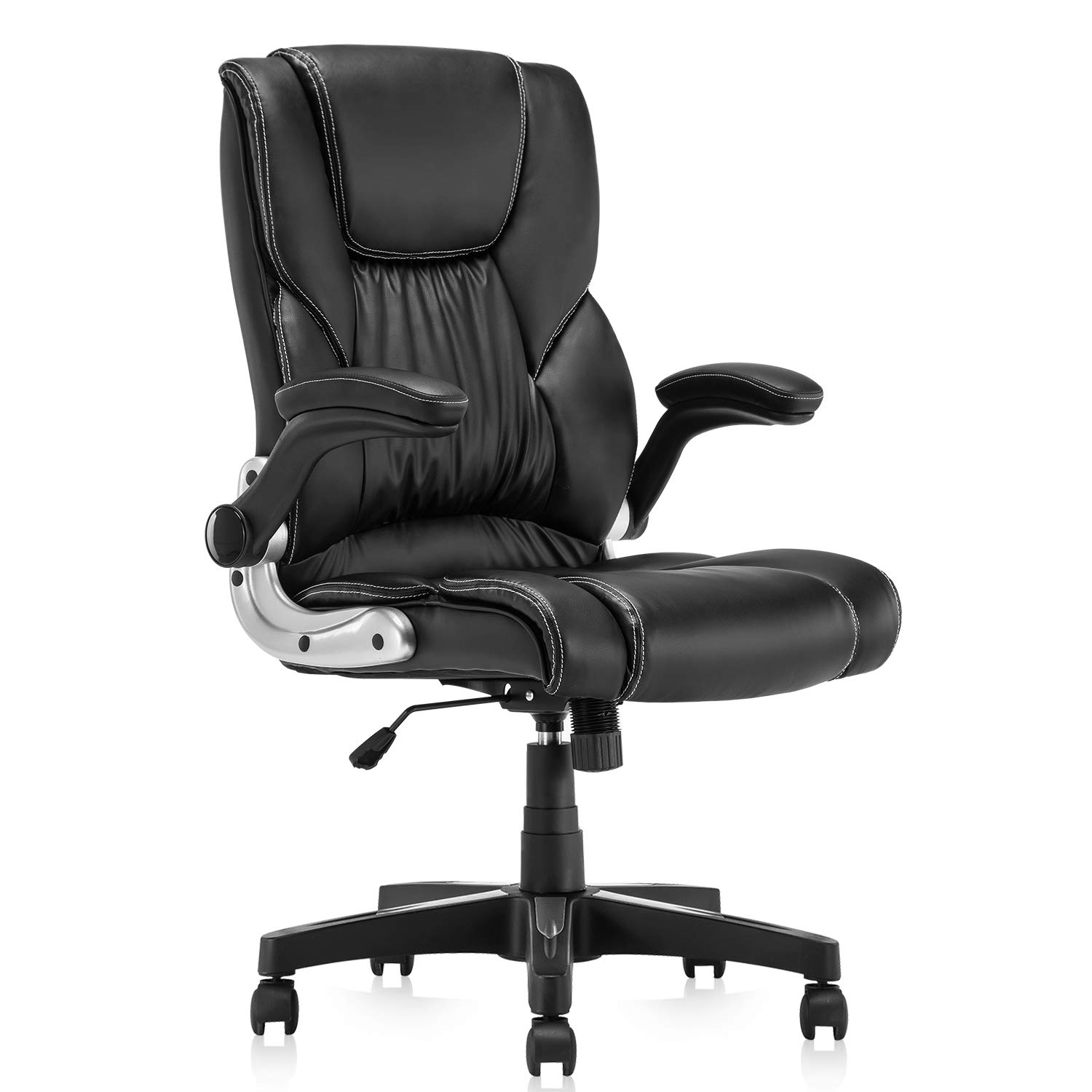 YAMASORO Ergonomic Leather Office Chair High Back Computer Executive Desk Chair with Armrest Black