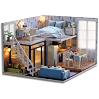 DIY Miniature Loft Dollhouse Kit 3D Wooden House Room Handmade Toy with Furniture LED Lights