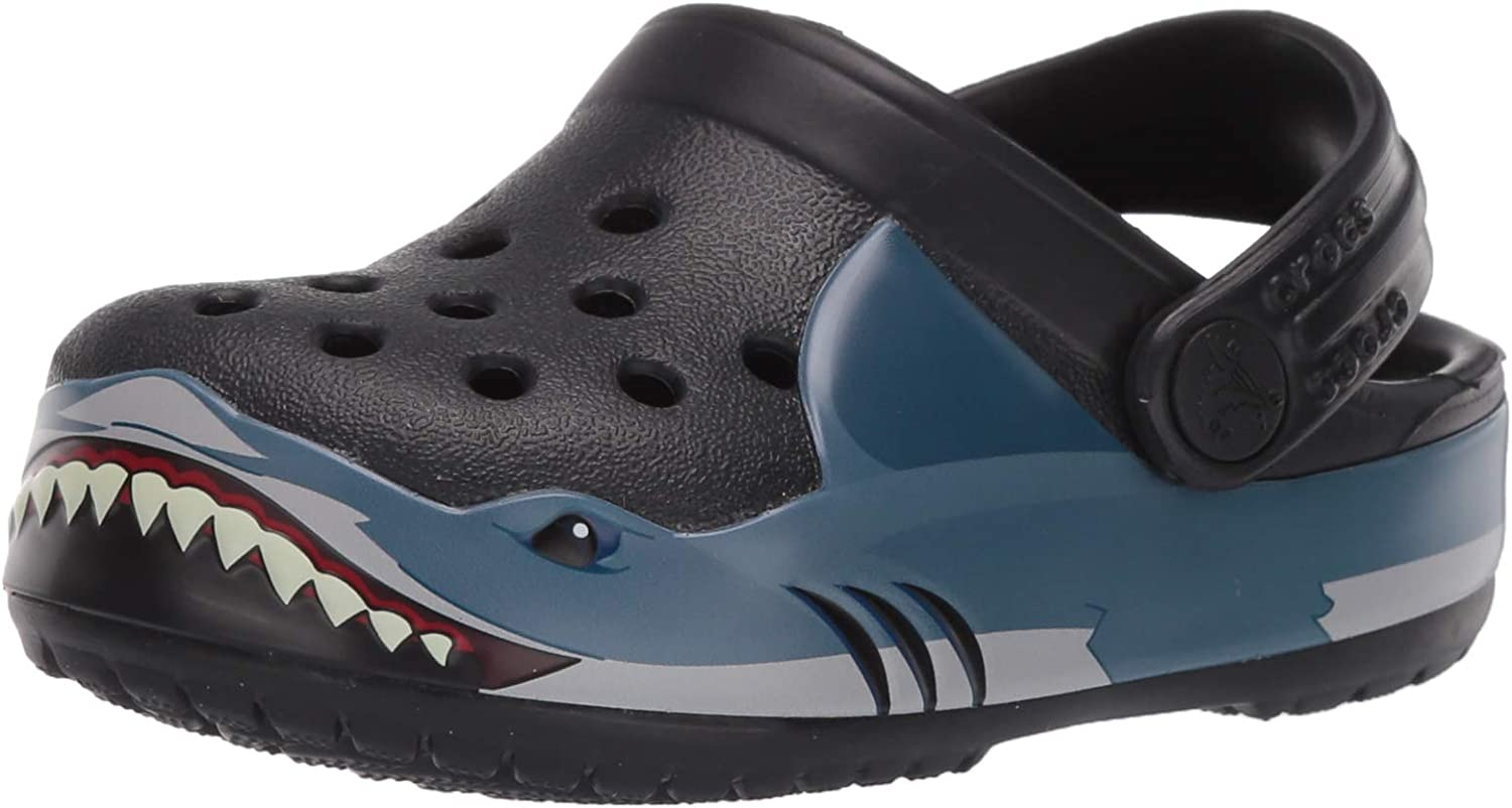 Crocs Kids' Fun Lab Shark Band Clog | Slip On Shark Shoes for Kids