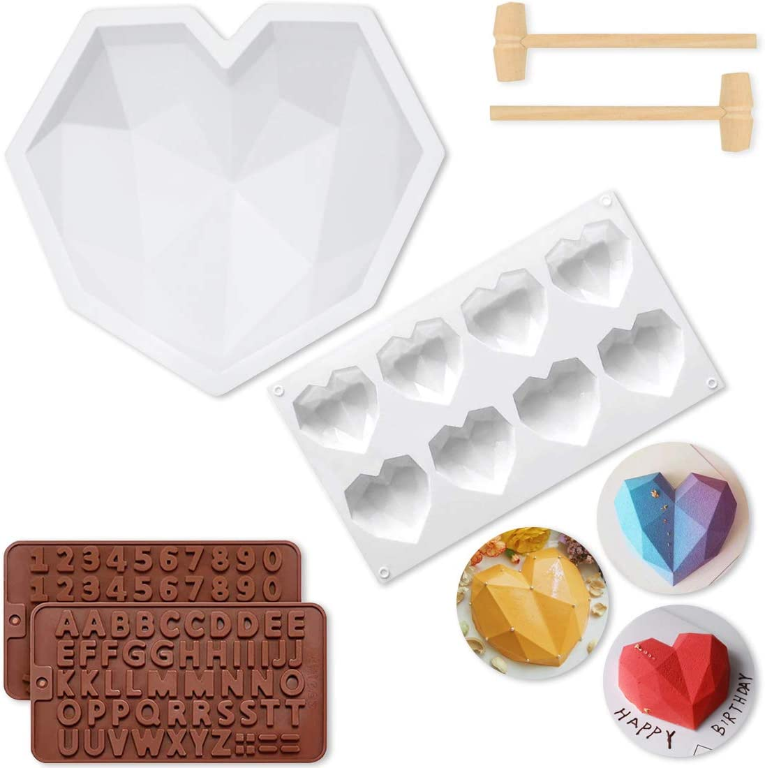 Diamond Heart Shape Silicone Mold Tray for Baking Mousse Cake,8 Cavities Love-shaped Hot Chocolate Molds, Non-Stick Letter Number Chocolate Molds with 2 Pieces Mini Wooden Hammers