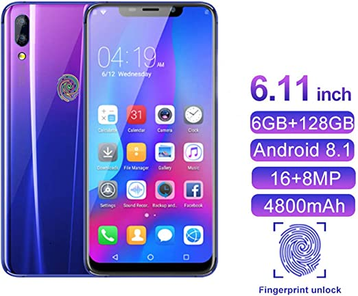 YXYNB Teléfono Móvil, SIM Dual Libre 4G Smartphone 16MP + 8MP + ...