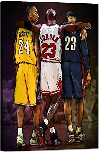 Yatsen Bridge Modern Basketball Wall Posters NBA Legends Lebron James, Michael Jordan Kobe Bryant Gym Canvas Artwork Framed Ready to Hang for Office Home Decor – 24 W x 36 H