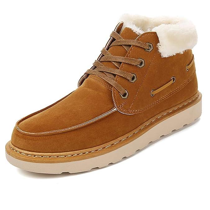 Zapatillas de Deporte Hombre Botas de Nieve Gamuza Cuero Flat Botines con Cordones Cálidos de Felpa de Forro de Algodón Zapatos Casuales Zapatos para ...