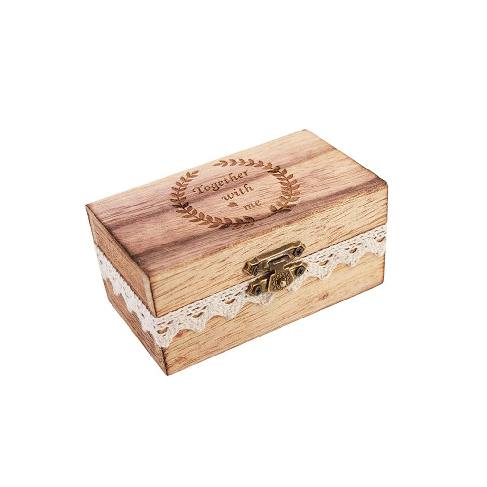 senover Wooden Mr Mrs Wedding Ring Box Wedding Ring Bearer Box Shabby Chic Ring Bearer Pillow for Anniversary Engagement Valentine's Day Decorative Jewelry Box Favor Gift