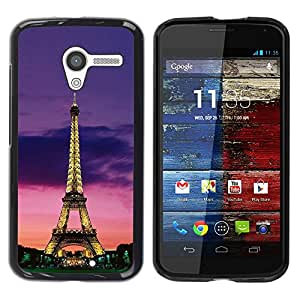 Paccase / SLIM PC / Aliminium Casa Carcasa Funda Case Cover para - Tower Architecture Lights Sky Night Paris - Motorola Moto X 1 1st GEN I XT1058 XT1053 XT1052 XT1056 XT1060 XT1055