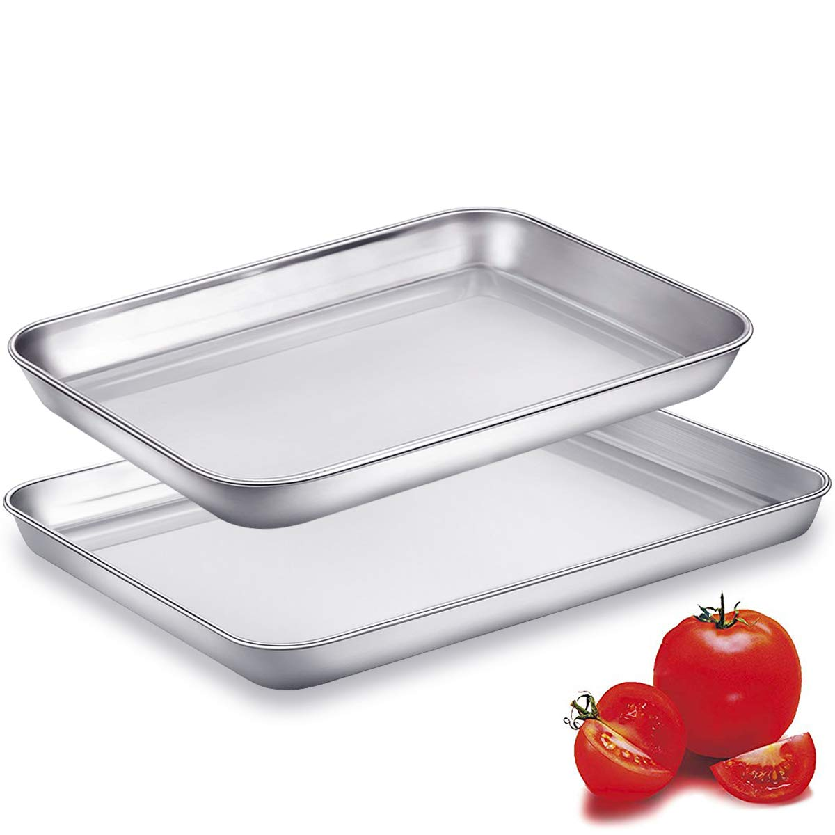 Cookie Sheets Toaster Oven Pans for Baking, Small Stainless Steel Metal Pan Tray, Eaninno Rectangle Sturdy & Heavy Bakeware Sheet Trays, 10 & 9 inch, 2 Piece/Set