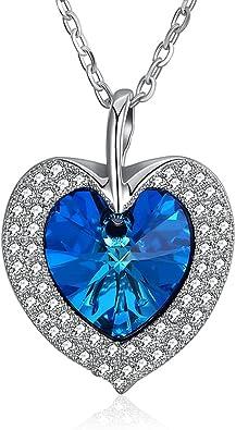 desbloquear Equivalente pistola  Corazón del mar, collar de moda de plata de ley con cristales de Swarovski,  regalo para mujer del día de San Valentín: Amazon.es: Joyería