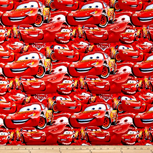 Disney Cars Cotton Fabric - Springs Creative Products Disney Cars Cotton Packed McQueen Red