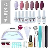 Vishine Gel Nail Polish Starter Kit, 48W LED Nail Dryer Lamp Base Top Coat 6 Pretty Colors Nail File Manicure Tools Matte Top Coat for Nail Art #03