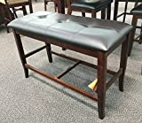 Counter Height Dining Bench in Deep Brown Finish Wood (1)