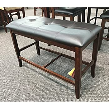 height of dining table bench bench seat counter height dining bench in deep brown finish wood 1 amazoncom