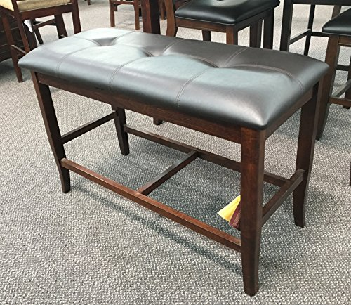 Counter Height Dining Bench in Deep Brown Finish Wood 1