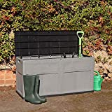 Wido Large 320L Plastic Garden Storage Box Chest Container Grey Outdoor Lockable