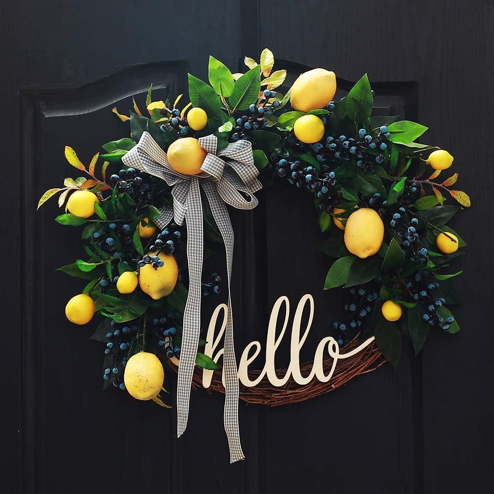 Fall Wreath for Front Door Lemon Wreath Farmhouse Wreath