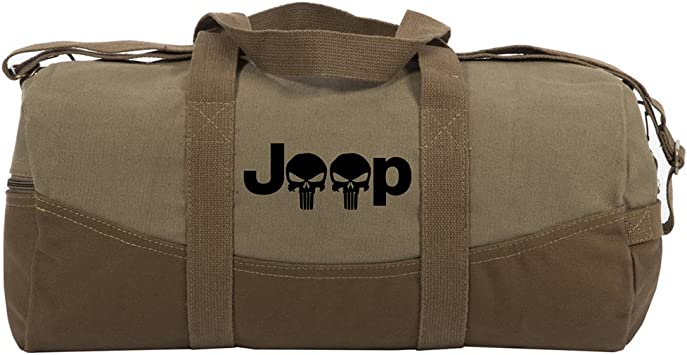 """Jeep with Punisher Skulls Two Tone Canvas 19"""" Duffel Bag with Detachable Strap"""