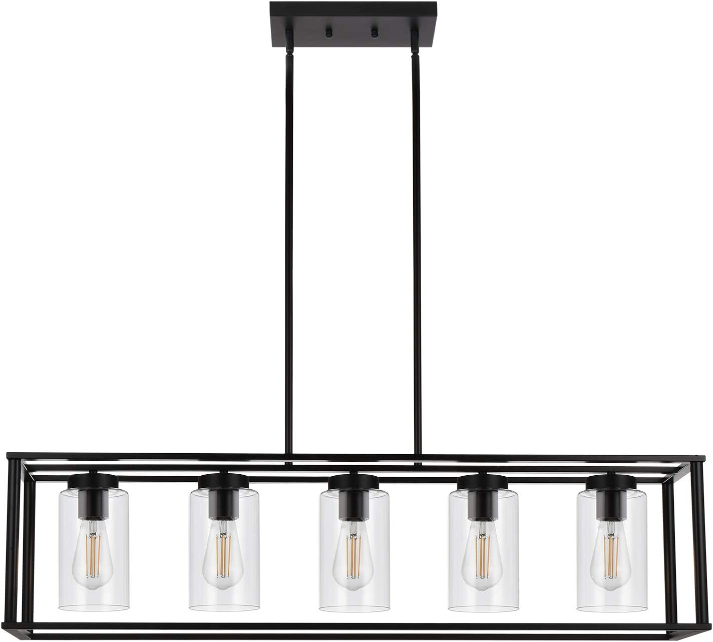 VINLUZ Farmhouse Chandeliers Rectangle Black 5 Light Dining Room Lighting Fixtures Hanging, Kitchen Island Cage Pendant Lights Contemporary Modern Ceiling Light with Glass Shade Adjustable Rods - -