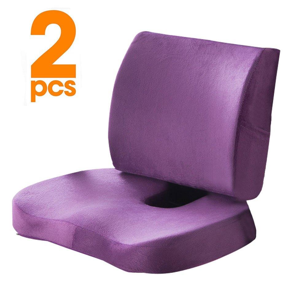 KWLET Titolo: Sedile Cuscino coccige Ortopedico Memory Foam e Supporto Lombare Cuscino, Set di 2, coccige Cuscino Basso per Supporto Lombare, coccige Sollievo dal Dolore, Sciatica Purple