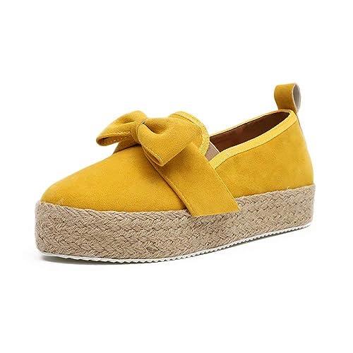 Mocasines Mujer Alpargatas Plataforma Mujer Verano Loafers Esparto Cuña 4.8CM Zapatos Tela Espadrillas Planas Cómodos Negro Oro Rojo Blanco Amarillo ...