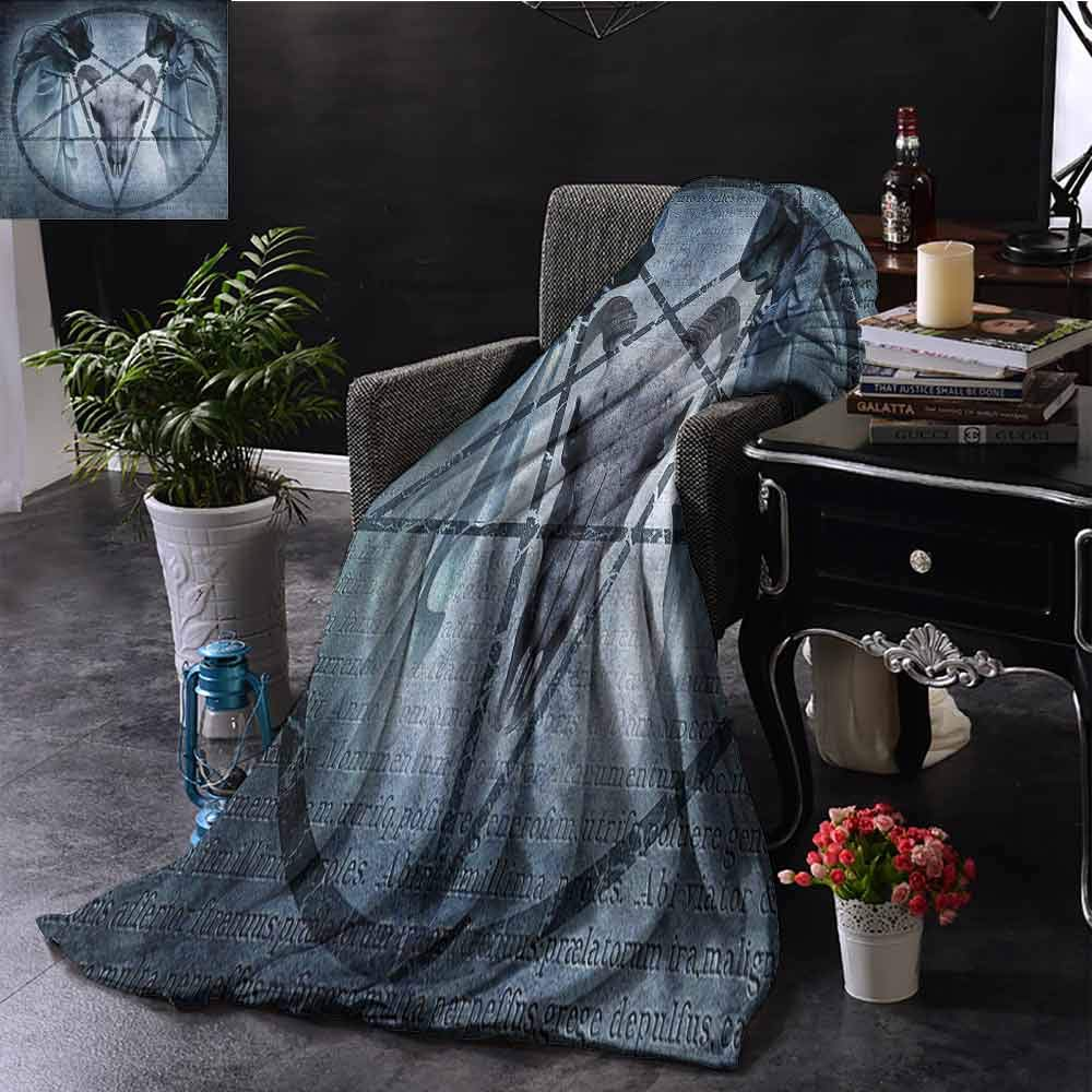 Luoiaax Horror House Decor Commercial Grade Printed Blanket Artwork with Pentagram Icon Goat Skull Devil Dream Hoody Figure Exorcist Image Queen King W55 x L55 Inch Blue